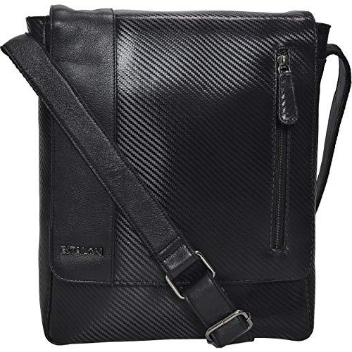 Small Messenger Bag for Men Women - Premium Crossover Vintage Leather Crossbody Over the Shoulder Satchel iPad Carrying Purse (01 Black Carbon Fibre)