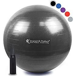 SmarterLife Exercise Ball for Yoga, Balance, Stability, Fitness, Pilates, Birthing, Therapy, Office Chair and Flexible Seating   Anti Burst, Non Slip Design   + Workout Ball Guide (Black, 65 cm)