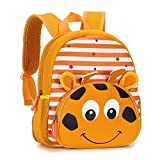 Hipiwe Little Kid Toddler Backpack Baby Boys Girls Kindergarten Pre School Bags Cute Neoprene Cartoon Backpacks for Children 1-5 Years Old (Giraffe)