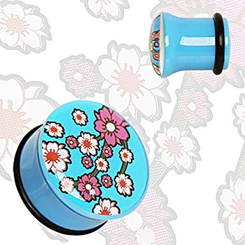 Covet Jewelry Blue UV Acrylic Oriental Flower Blossom Single Flare Plug with O-Ring (4GA)
