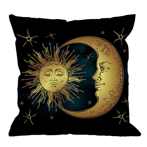 (HGOD DESIGNS Golden Sun Decorative Throw Pillow Cover Case,Crescent Moon and Stars Over Blue Black Sky Cotton Linen Outdoor Pillow cases Square Cushion Covers For Sofa Couch Bed 18x18 inch Dark Blue)