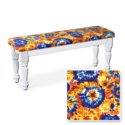 The Furniture Cove Farmhouse Style Traditional Wood Dining Bench with White Legs Featuring Your Choice of a Novelty Print Fabric Covered Padded Seat Cushion (Tie Dye Flannel) ()