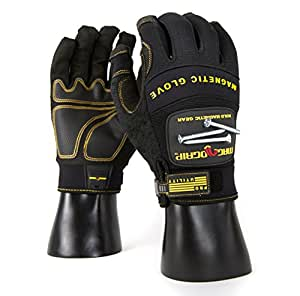 MagnoGrip 002-696 Pro Utility Magnetic Glove with Touchscreen Technology, Large, Black