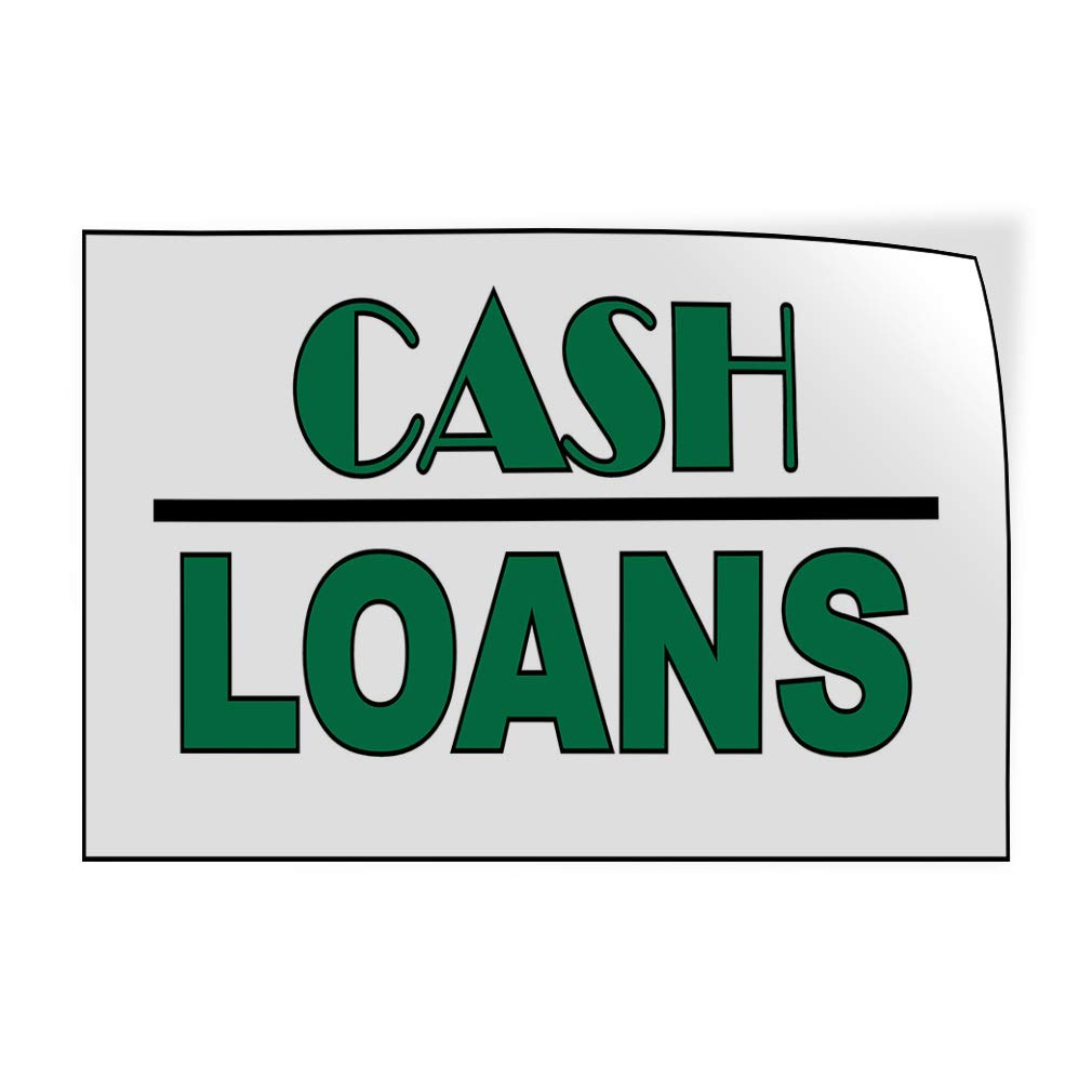 14inx10in Decal Sticker Multiple Sizes Cash Loans White Green Black Business Money Outdoor Store Sign White Set of 10