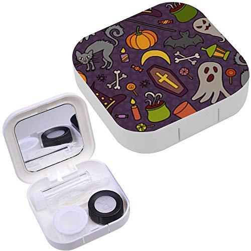 Portable Contact Lens Case Box Travel Kit Mirror + Bottle + Tweezers Container Holder [ Halloween Doodle Cartoon ] -