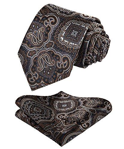HISDERN Floral Paisley Wedding Tie Handkerchief Men's Necktie & Pocket Square Set Brown & Gray