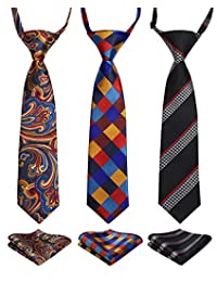 Enlision 3pcs Boys Pre-Tied Neckties & Pocket Square Set Neck Strap Tie for Kids Orange/Black