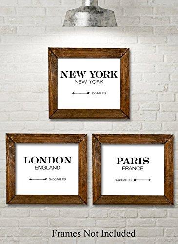 London New York Paris Directionals - Set of 3 11x14 Unframed Typography Art Print - Great Restaurant (Paris Antique Print)