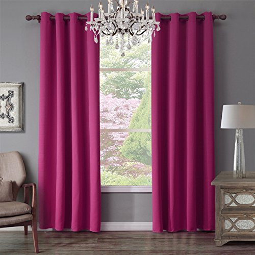 Lebather Thickened Grommet Top Blackout Curtain for Bedroom Living Room Solid Light Blocking Thermal Insulated Window Treatment Panel Drapes,2 Panels (52'' W X 63'' L, Rose (Standard Furniture Spring Rose)