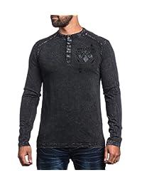 Affliction Men Shirt Live Fast Eagle Graphic L/s Button Hanley Neck in Black wash