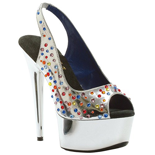 - Summitfashions Metallic Silver Slingback Sandals with Multi-Colored Rhinestones and 6'' Heels Size: 12