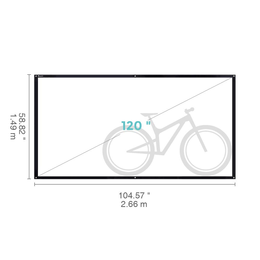 Projector Screen, 120 Inch Portable HD 16:9 Projection Screen Diagonal Foldable Indoor Outdoor Movie Screen with PVC Material