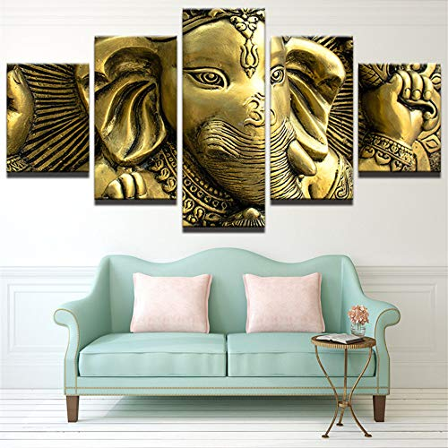 GDPOOTREE Canvas Wall Art Pictures Home Decor Living Room HD Printed 5 Piece India Elephant Head God Ganesh Painting Modular Poster,30x80cm