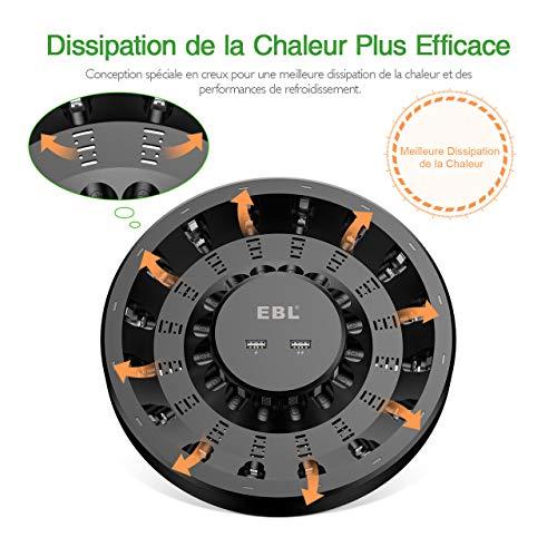EBL Chargeur de Piles 16 Slots Indépendants, Chargeur de Piles Rapide pour AA AAA Piles Rechargeables en Ni-MH, avec 2 Ports Sortie USB