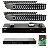 GW Security 32 Channel 1920p NVR Video Security Camera System with 32-Piece 5 MP 1920p Weatherproof 2.8-12mm Varifocal Bullet Cameras, 16 Port PoE Switch and Pre-Installed 8TB HDD