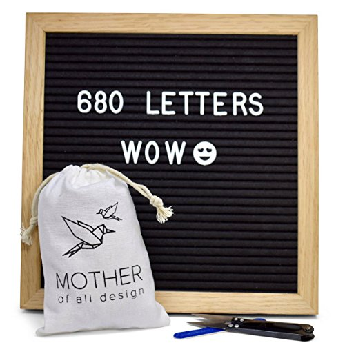 Changeable Felt Letter Board with a Massive 680 Letters Numbers & Symbols - 10 x 10 inches by Mother of all Design