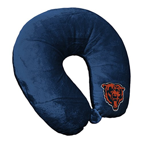 The Northwest Company Officially Licensed NFL Chicago Bears Applique Travel Neck Pillow for Airplanes, Camping, Travel and Home Use, Blue, One - Pillow Chicago Bears