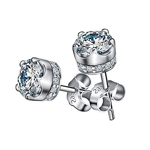 LANMPU Rhodium Plated Sterling Silver Swarovski Elements Sparkling Cubic Zirconia Stud - Sunglasses Tiffany Buy Online