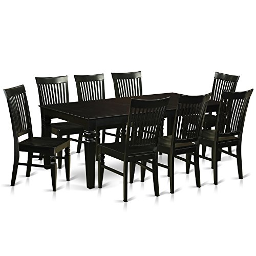 East West Furniture LGWE9-BLK-W 9 Piece Dining Table and 8 Wood Kitchen Chairs, Black (8 Piece Dining Room Table)