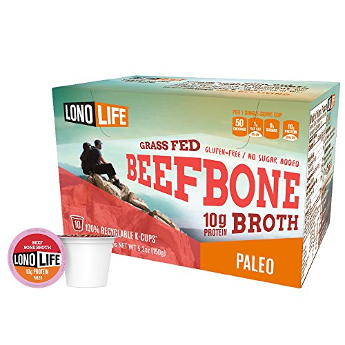 LonoLife Grass Fed Beef Bone Broth 10g Protein - 10 Count Paleo Snack - For your Keurig Style Brewer