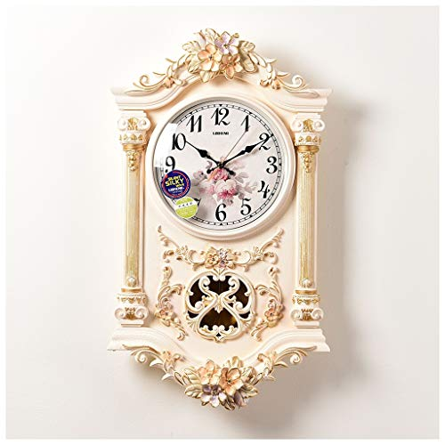 SMC wall clock European Personality Creativity Stylish Atmosphere Luxury Wall Clock Silent Bedroom Office Living Room Decoration Wall Clock (Color : Beige)