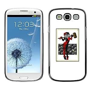 Samsung Galaxy S3 , JackGot - Impreso colorido protector duro espalda Funda piel de Shell (Joker Hammer Arte Mujer Negro Rojo Blanco)