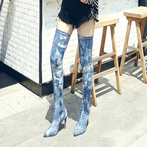 Gescheurde Denim Dij Hoge Laarzen Voor Vrouwen Stretch Over De Knie Naaldhak Zijrits Puntige Neus Laarzen Graffiti