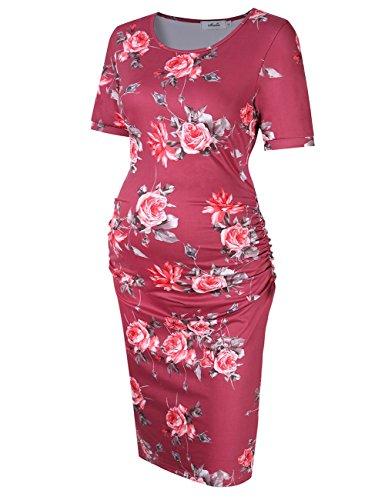 MissQee Maternity Dress Ruched Round Neck Maternity Dresses (S, Burgundy Print)