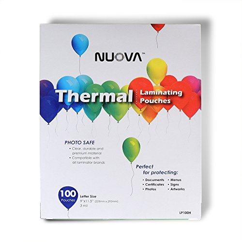 "Nuova Premium Thermal Laminating Pouches 9"" x 11.5"", Letter Size, 3 mil , 100 Pack (LP100H)"