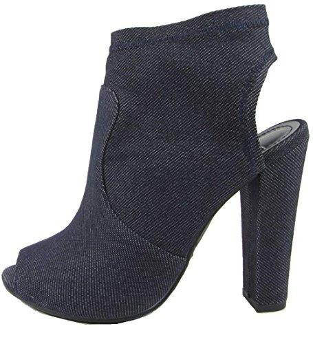 pen Back Heel Stacked Platform Chunky Heel Bootie (8.5 B(M) US, Dark Blue) ()