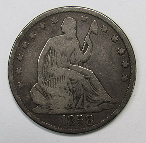 1858 P Seated Liberty Half Dollar 50c Fine Details