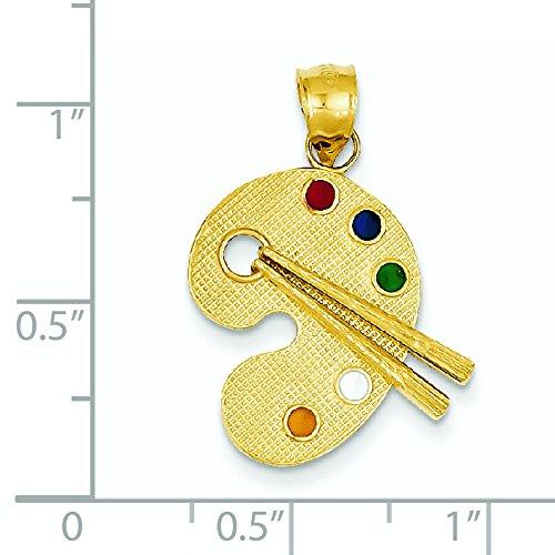 14 Carats Pendentif émaillé Motif Palette d'artiste-Dimensions :  27,6 x 18,1-JewelryWeb mm