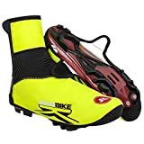 KINGBIKE Water Resistance Bike Shoe Covers Winter Warm Elastic Fleece/PU Fabrics,Great Fit,Reflective Strap Protection,Taped Zipper
