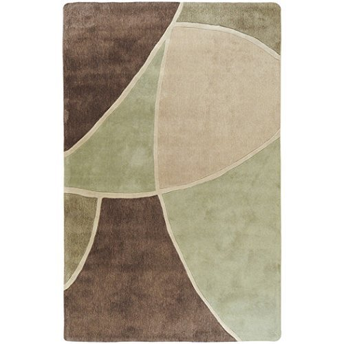 Surya Cosmopolitan COS-8893 Contemporary Hand Tufted 100% Polyester Abstract Area/Accent Rug in Sage Green/Olive, Beige, Mocha, Olive, Chocolate (2'6