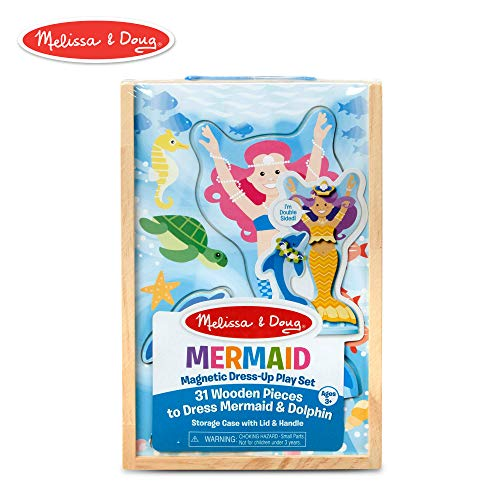 Dress Up Mermaid Dolls - Melissa & Doug Mermaid & Dolphin Magnetic Dress-Up Wooden Dolls Pretend Play Set (35 Pieces)