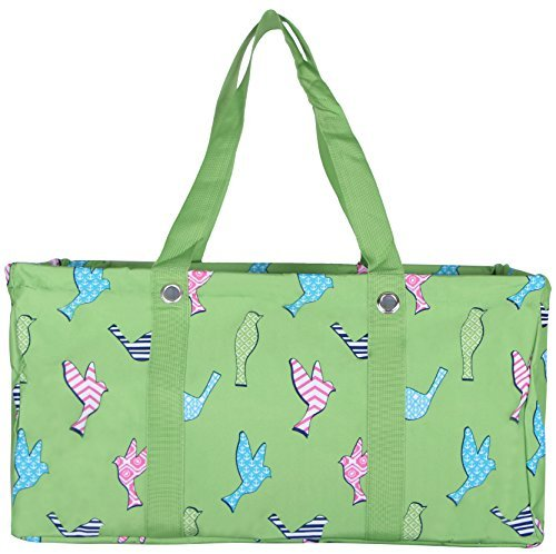 Wireframe All Purpose Large Utility Bag (Green Birds)