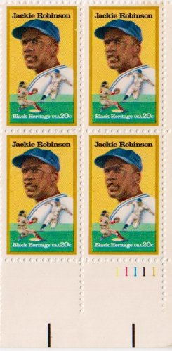 Robinson Plates (JACKIE ROBINSON ~ BLACK HERITAGE ~ BASEBALL #2016 Plate Block of 4 x 20¢ US Postage Stamps)