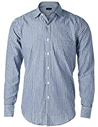 JEETOO Mens Striped Dress Shirt Long Sleeve Slim Fit Shirt