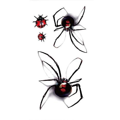 1 hoja sexy tatuaje temporal pegatinas impermeable falso araña ...