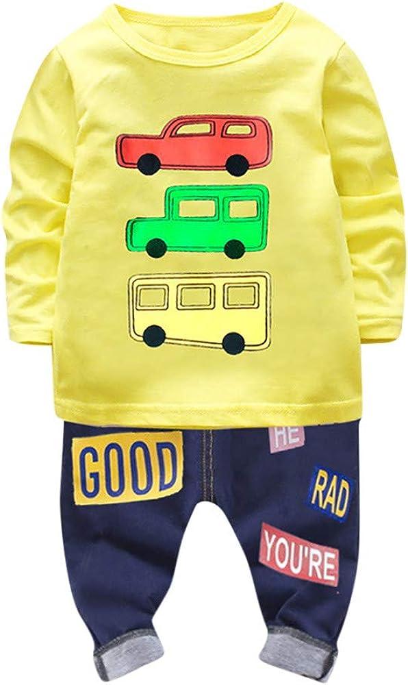 Camiseta Estampada Carros con Mangas largas para niño Bebé Tops Sudadera Pullover + Pantalones Conjunto de Ropa de niños: Amazon.es: Ropa y accesorios