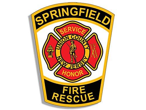 SPRINGFIELD NJ Fire Logo Shaped Sticker (firefighter service)