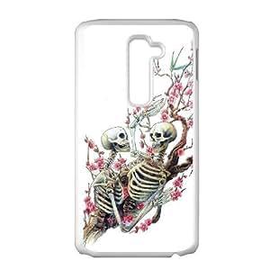 Diy Flower Sugar Skull Phone Case for LG G2 White Shell Phone JFLIFE(TM) [Pattern-1]