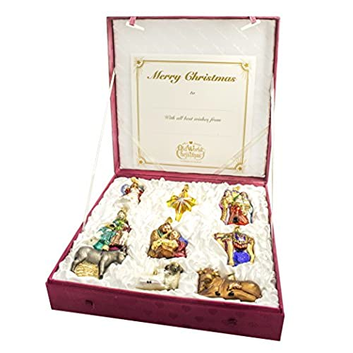 old world christmas nativity collection glass ornaments set of 9 14020 - Merck Family Old World Christmas