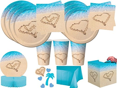 Beach Love Bridal Shower Wedding Anniversary Party Tableware Kit Plates Napkins Cups and Decorations for 24 Guests (139 Pieces) -