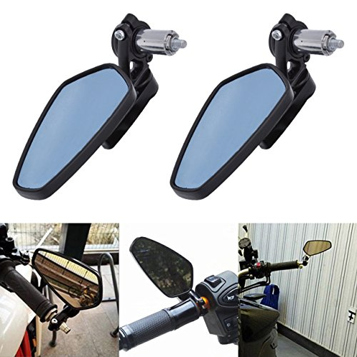 KaTur 7/8Inch 22mm Motorcycle Handlebar End Mirrors Oval CNC Billet Aluminum Motorbike Side Rearview Mirrors for Harley-Davidsons Honda Yamaha Suzuki Kawasaki ()
