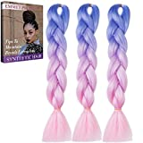 Emmet Jumbo Braiding Synthetic Hair 100g/pc 24'' Long Kanekalon African Braids Hair Extension, with Hair Care Ebook (24'', 3 Pack, Ombre Color 27)