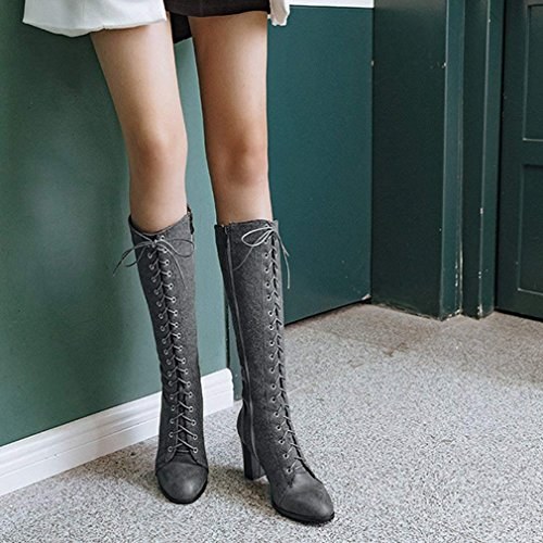 Lace up Zip Grey Knee Heel Mid Womens with Block Vitalo Calf Combat Ladies High Boots High Boots vq4wIXxF
