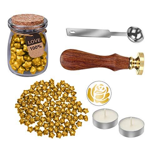 MyLifeUNIT Rose Wax Seal Stamp Kit for Wedding, Retro Envelop Wax Sealing Set (Golden) ()