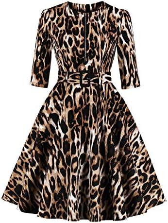Wellwits Womens Sleeve Leopard Vintage