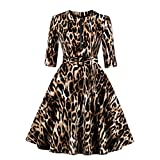 Wellwits Women's 3/4 Sleeve Zipper Belt Pocket Leopard Print Vintage Dress XL